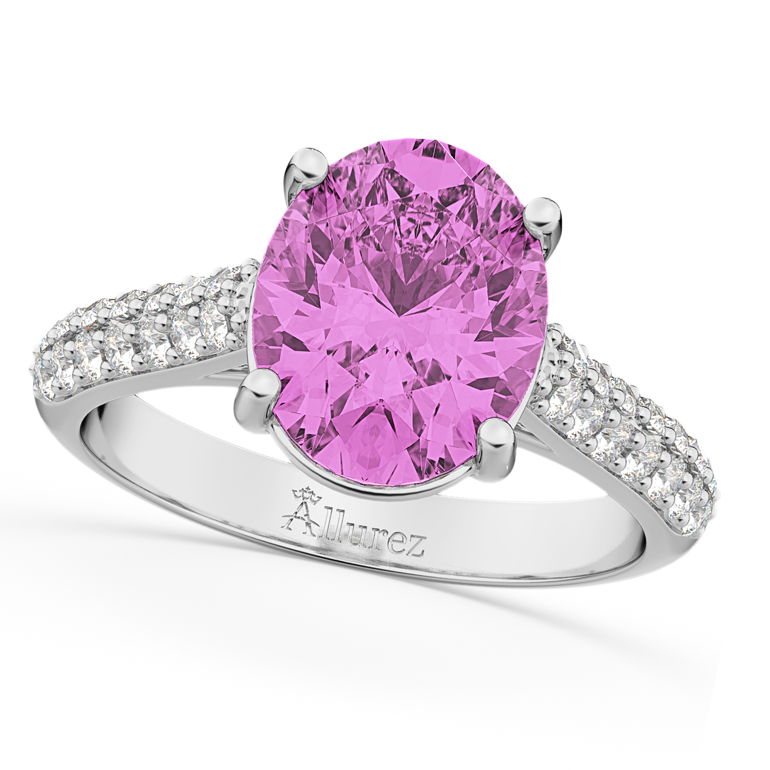 Oval Pink Sapphire & Diamond Engagement Ring 18k White Gold 4.42ct