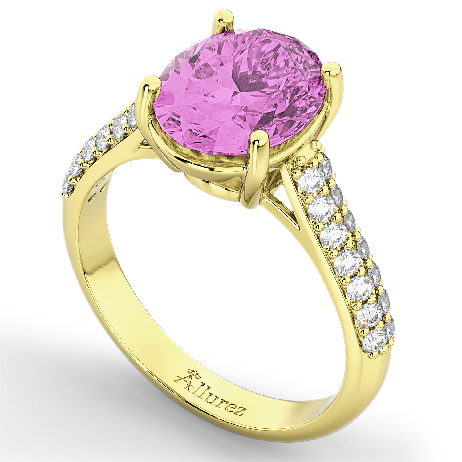 Oval Pink Sapphire & Diamond Engagement Ring 18k Yellow Gold (4.42ct)