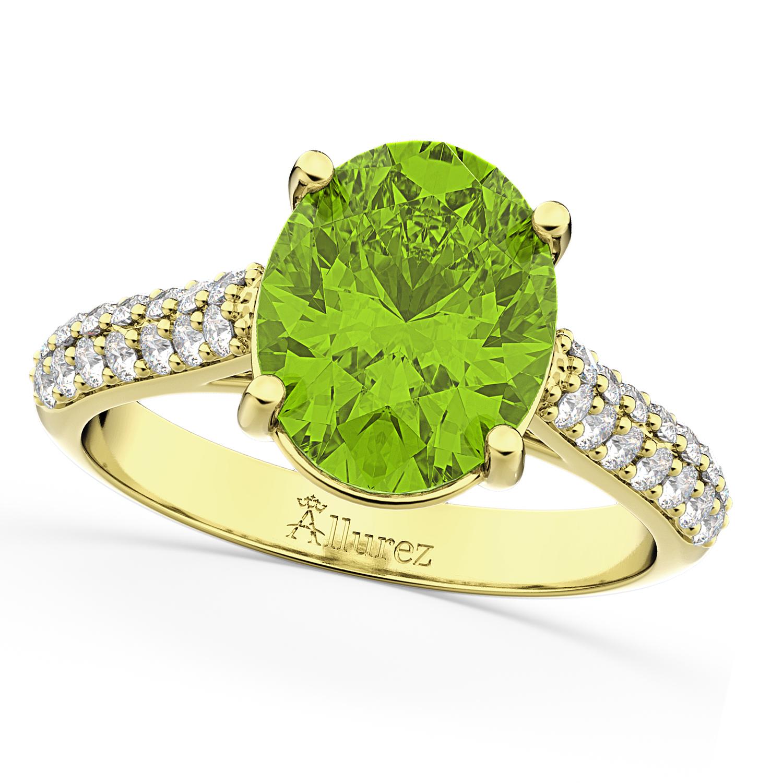 Oval Peridot & Diamond Engagement Ring 18k Yellow Gold 4
