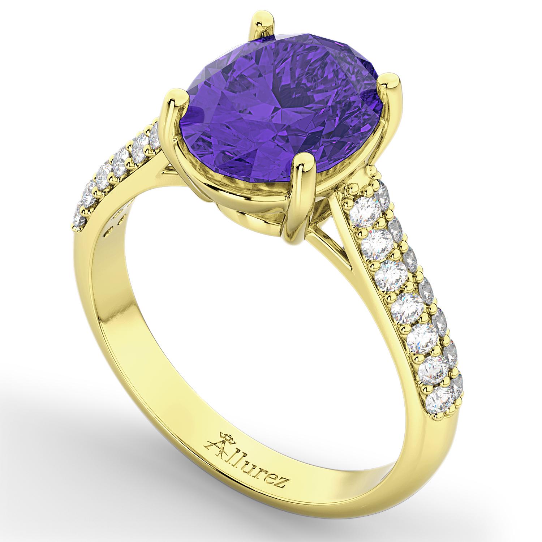 oval tanzanite engagement ring 18k yellow gold 4