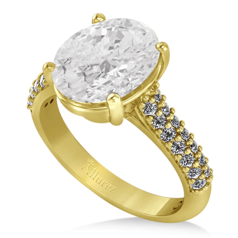oval white topaz diamond engagement ring 14k yellow gold. Black Bedroom Furniture Sets. Home Design Ideas