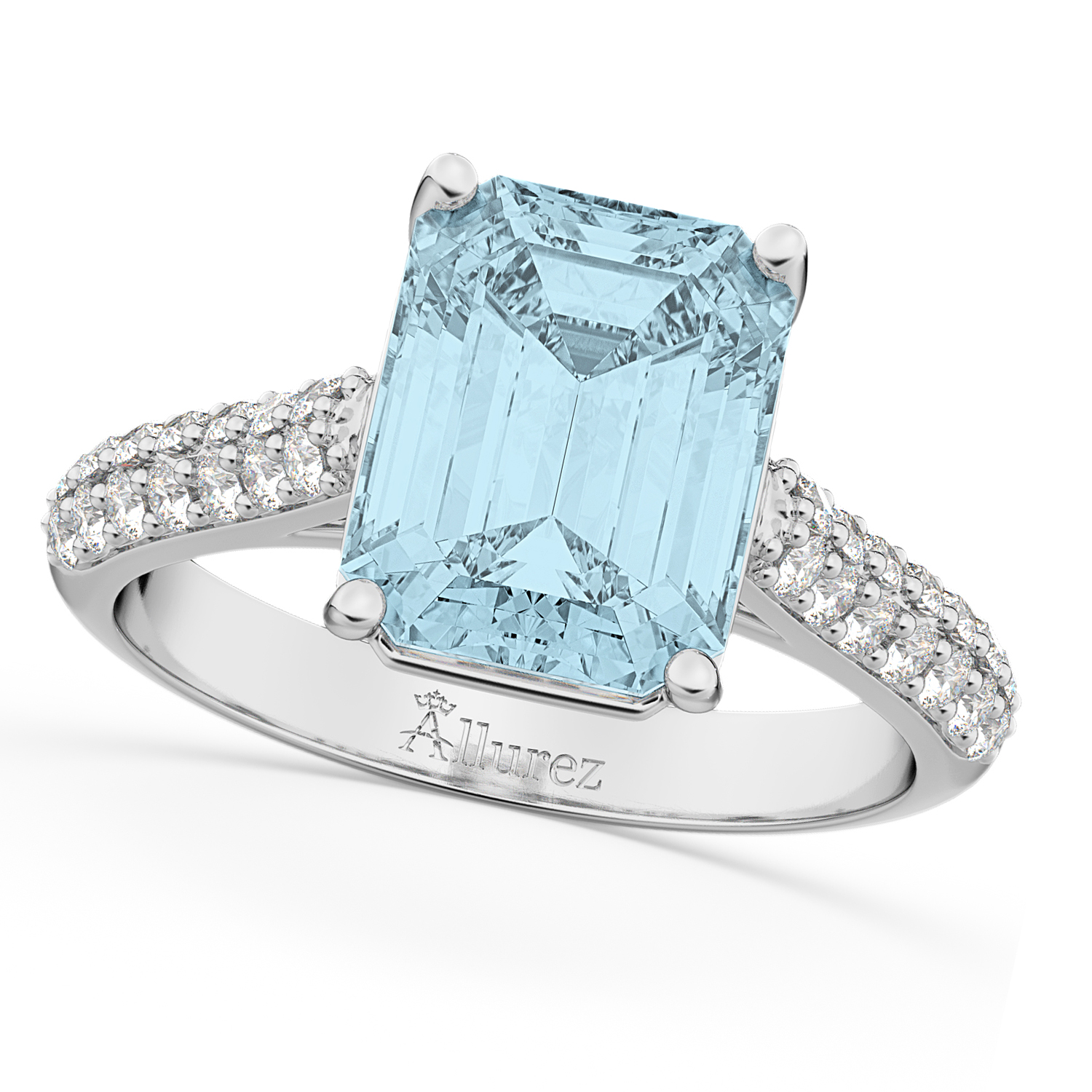 emeraldcut aquamarine amp diamond engagement ring 14k white