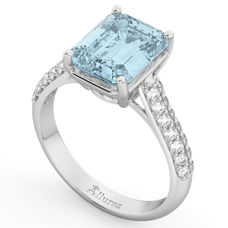 emeraldcut aquamarine amp diamond engagement ring 14k white