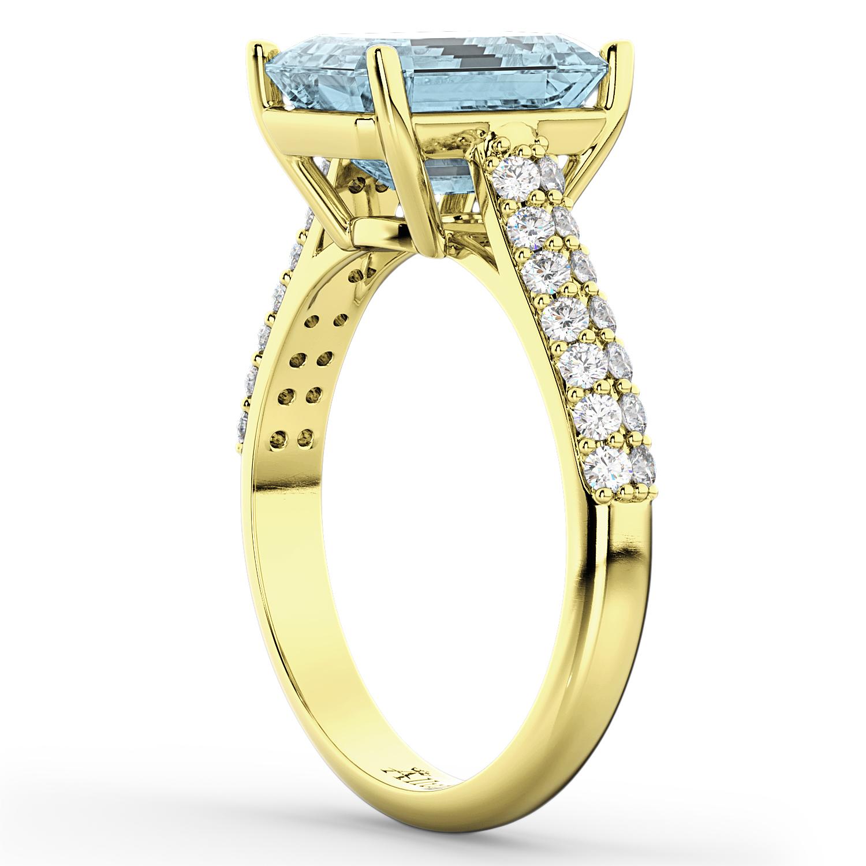 emerald cut aquamarine engagement ring 14k