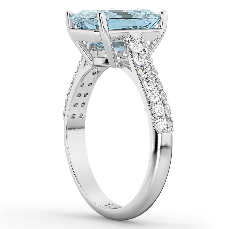 emerald cut aquamarine engagement ring 18k white