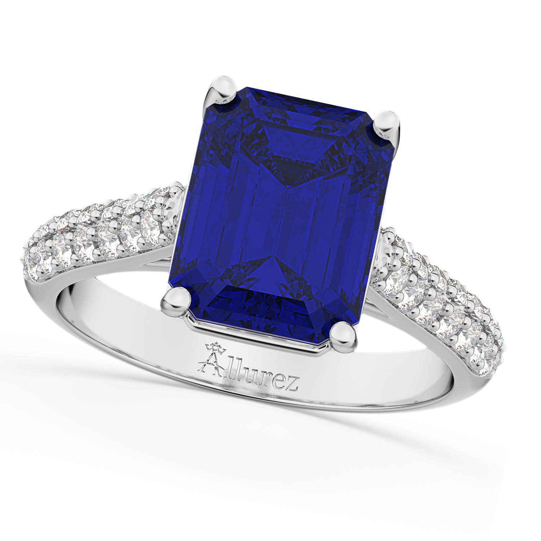 Emerald-Cut Blue Sapphire & Diamond Ring 14k White Gold (5.54ct)
