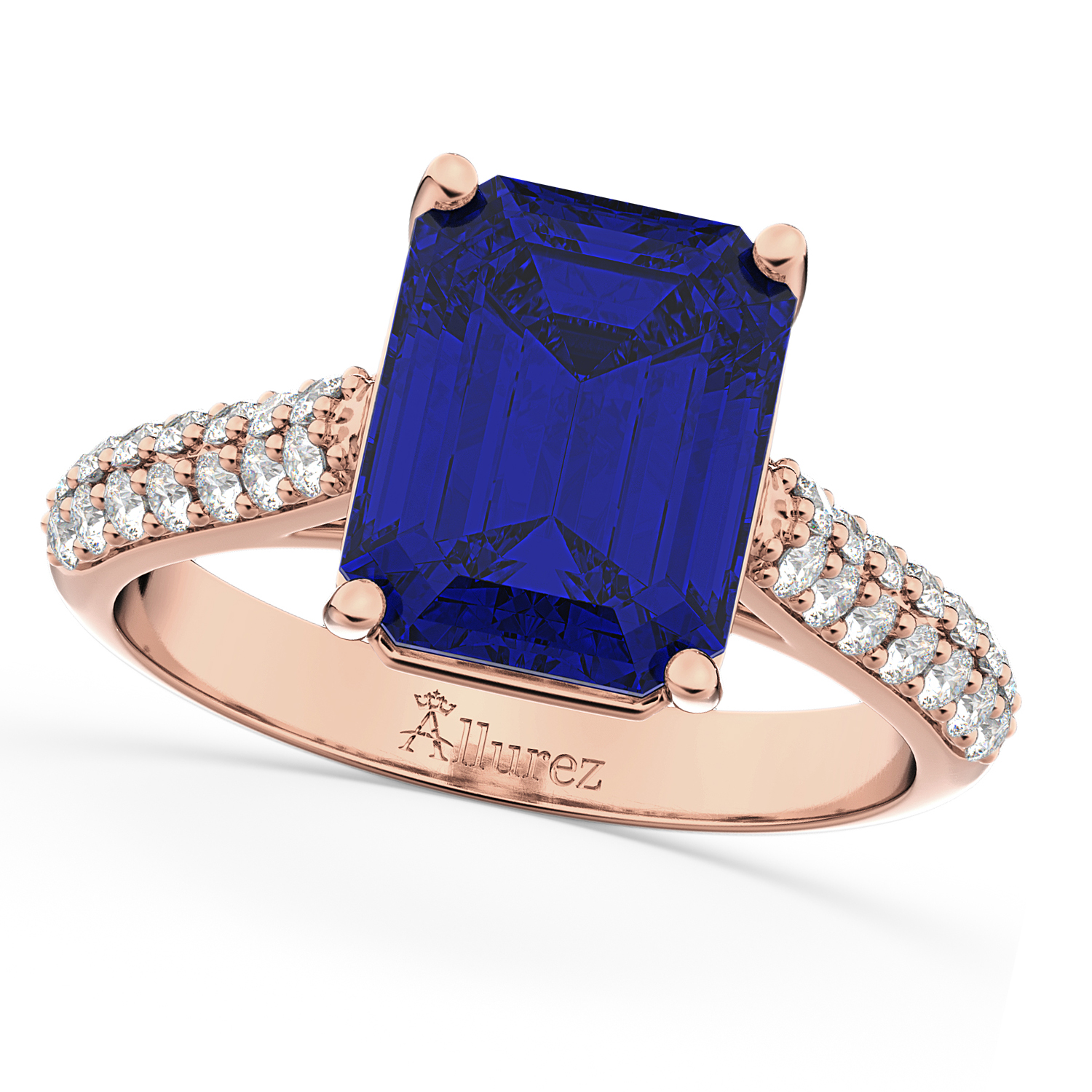 Emerald-Cut Blue Sapphire & Diamond Ring 18k Rose Gold (5.54ct)