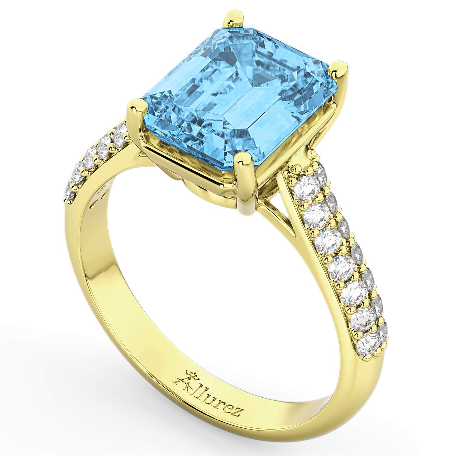 emerald cut blue topaz ring 18k yellow gold 5