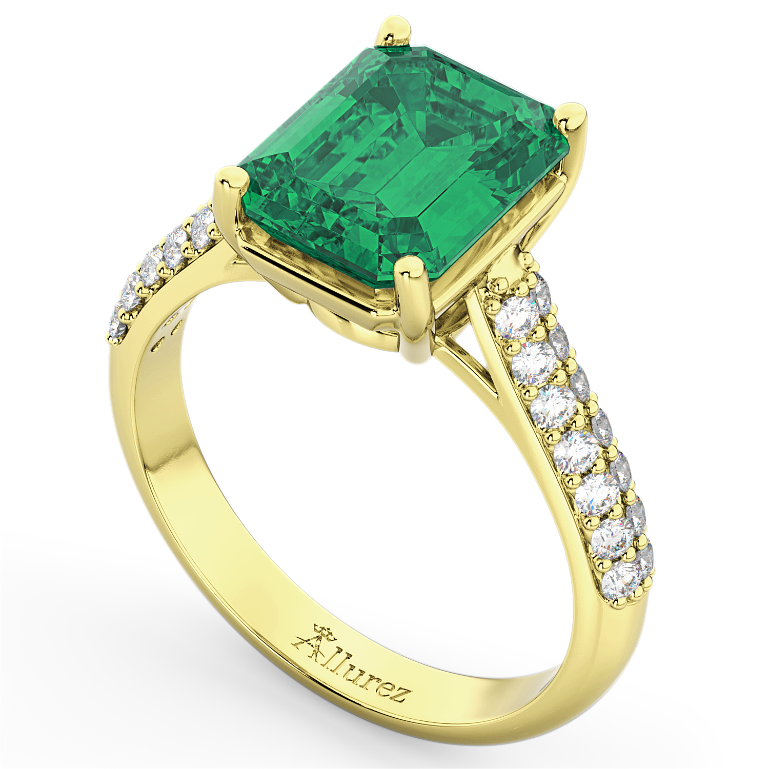 emerald cut emerald engagement ring 18k yellow