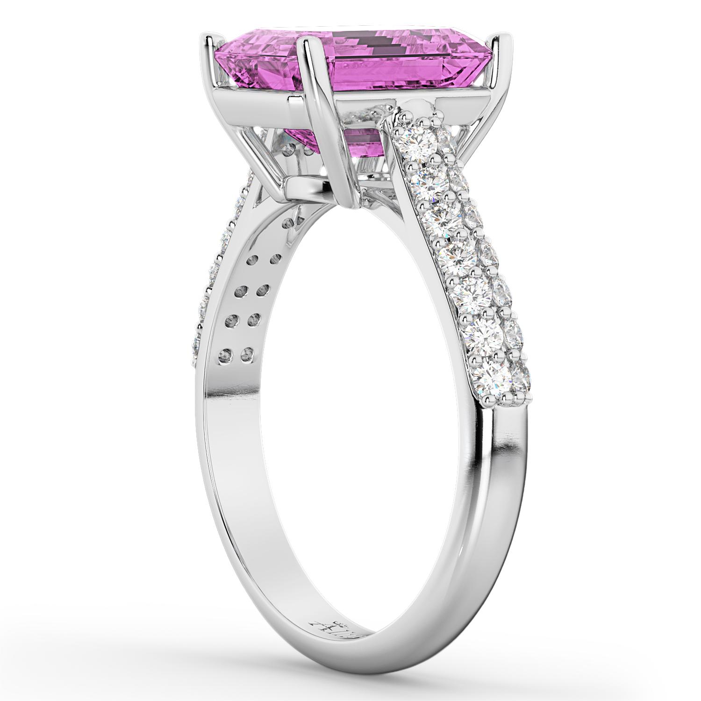 Emerald-Cut Pink Sapphire & Diamond Ring 14k White Gold (5.54ct)