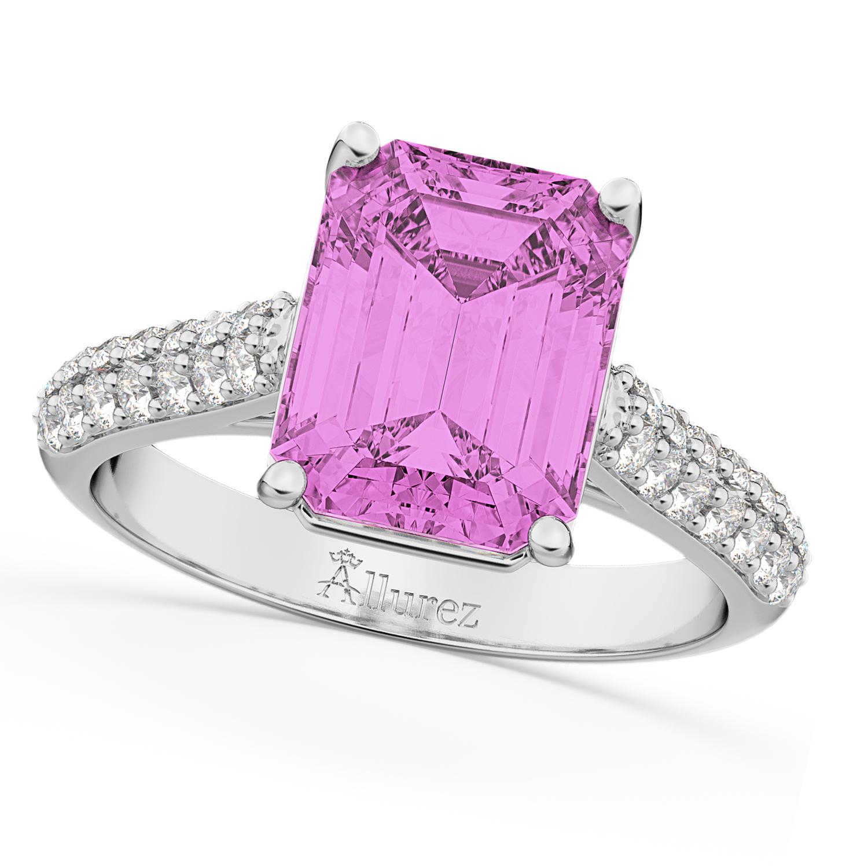 Emerald-Cut Pink Sapphire & Diamond Ring 18k White Gold 5.54ct
