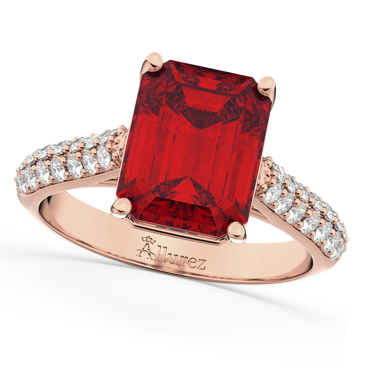 Emeraldcut Ruby & Diamond Engagement Ring 14k Rose Gold