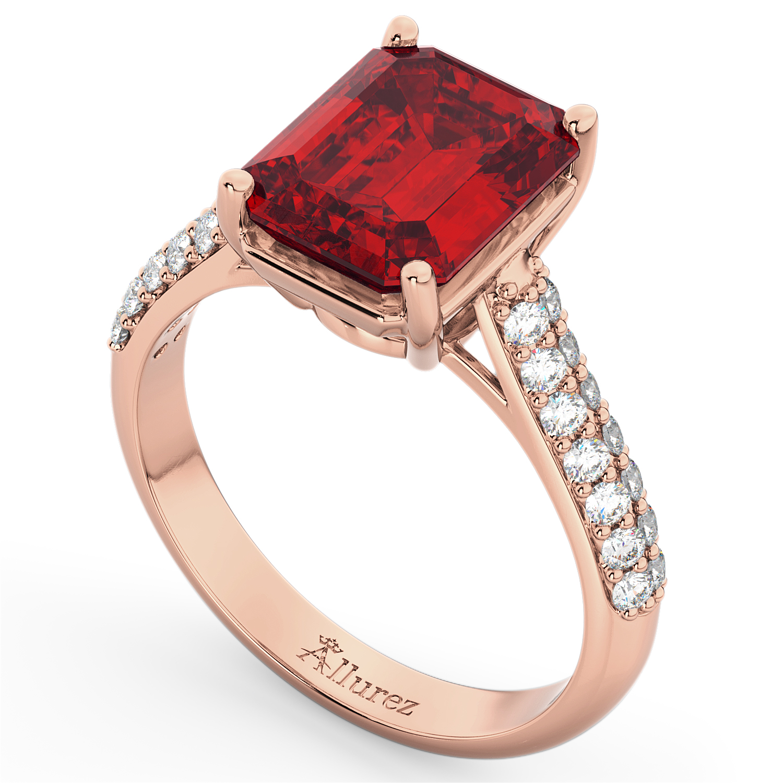 Emerald Cut Ruby & Diamond Engagement Ring 14k Rose Gold 5 54ct