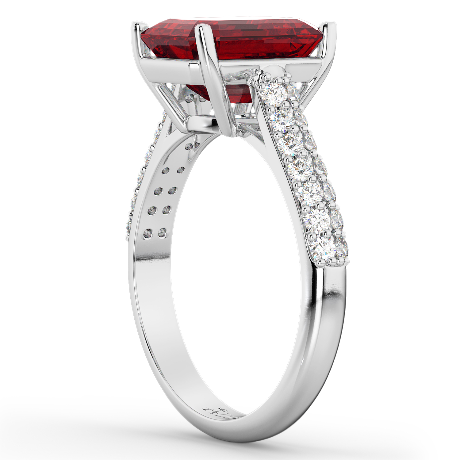 Emerald-Cut Ruby & Diamond Engagement Ring 14k White Gold (5.54ct)