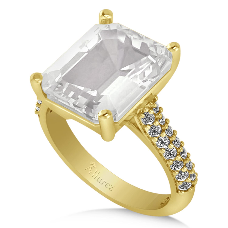 emerald cut white topaz engagement ring 14k