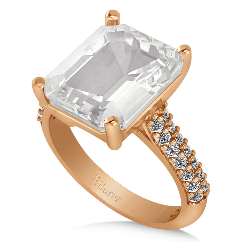 Emerald-Cut White Topaz & Diamond Engagement Ring 18k Rose Gold (5.54ct)