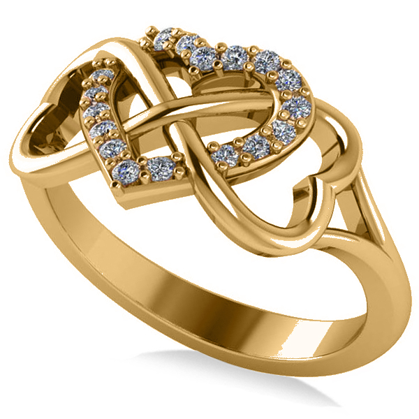 Infinity Heart Diamond Accented Fashion Ring 14k Yellow Gold (0.17ct)