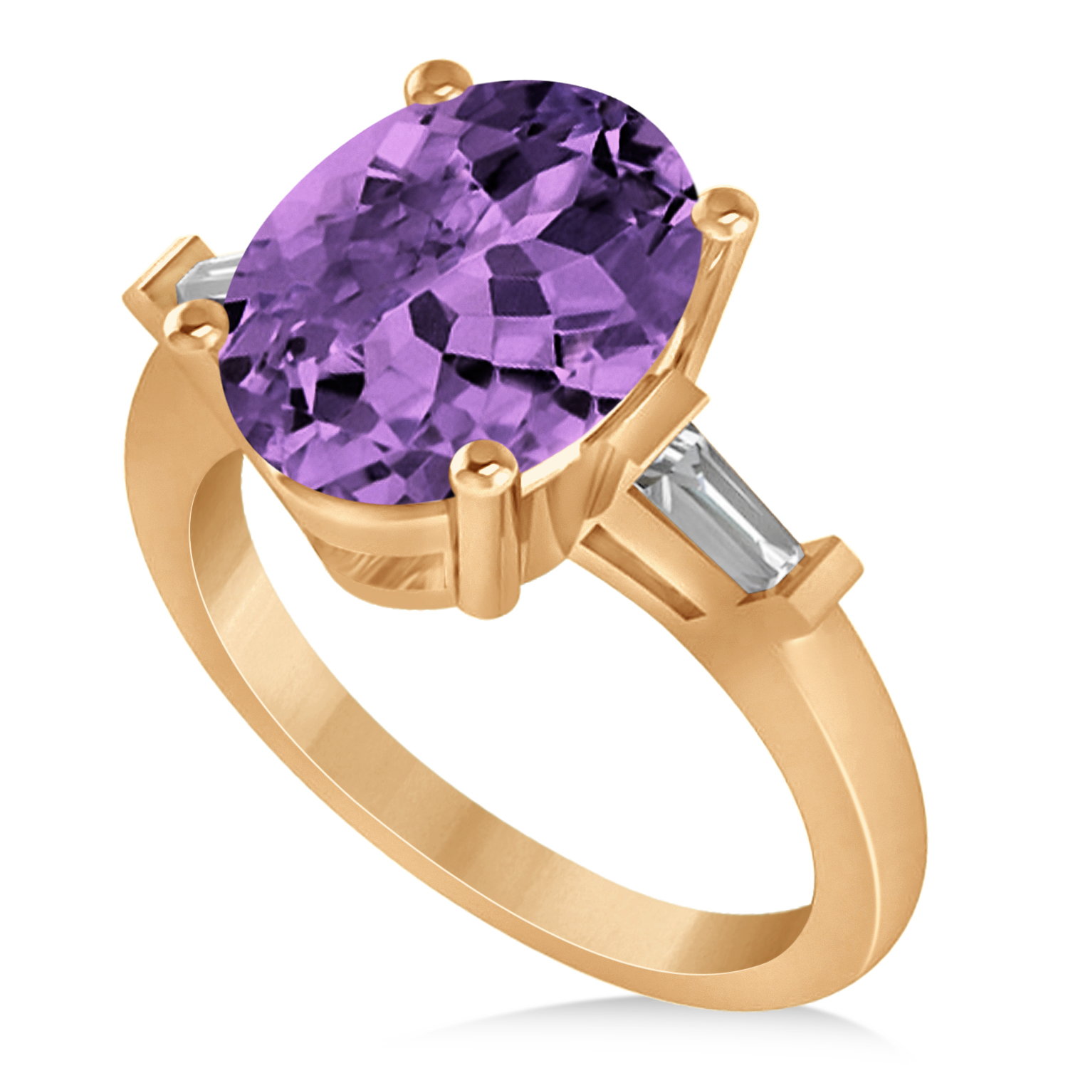 oval baguette cut amethyst engagement ring 14k rose gold. Black Bedroom Furniture Sets. Home Design Ideas