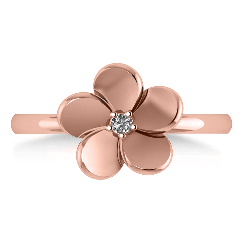 Diamond Flower Ladies Fashion Ring 14k Rose Gold (0.03ct)