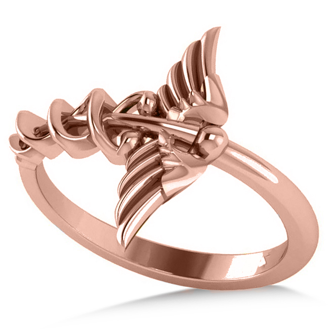 Caduceus Medical Symbol Novelty Ladies Ring 14k Rose Gold