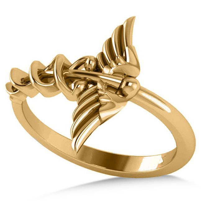Caduceus Medical Symbol Novelty Ladies Ring 14k Yellow Gold