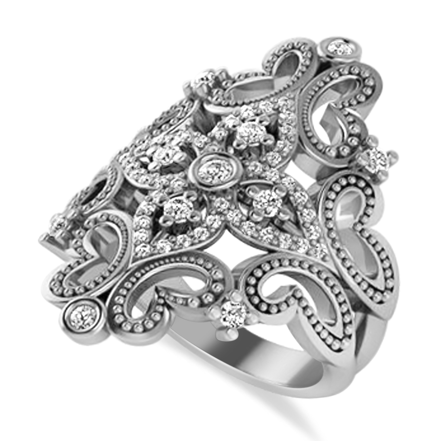 Ladies Diamond Antique Novelty Cigar Ring 14k White Gold (0.44 ctw)