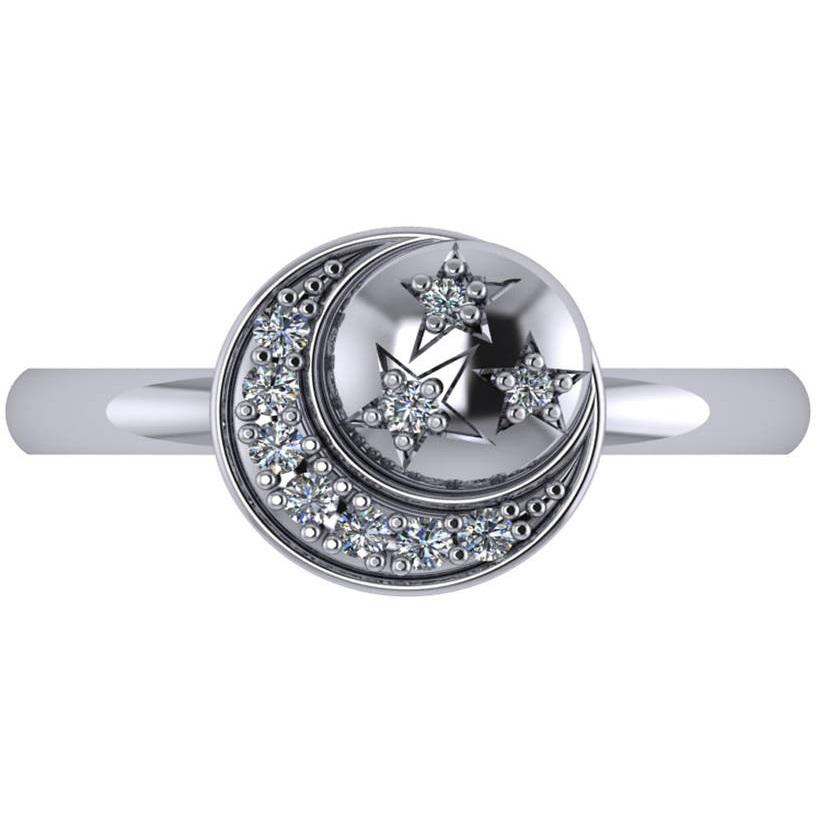 Crescent Moon and Stars Diamond Ring 14k White Gold (0.14ct)