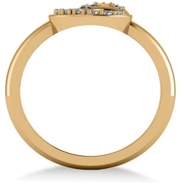 Crescent Moon and Stars Diamond Ring 14k Yellow Gold (0.14ct)