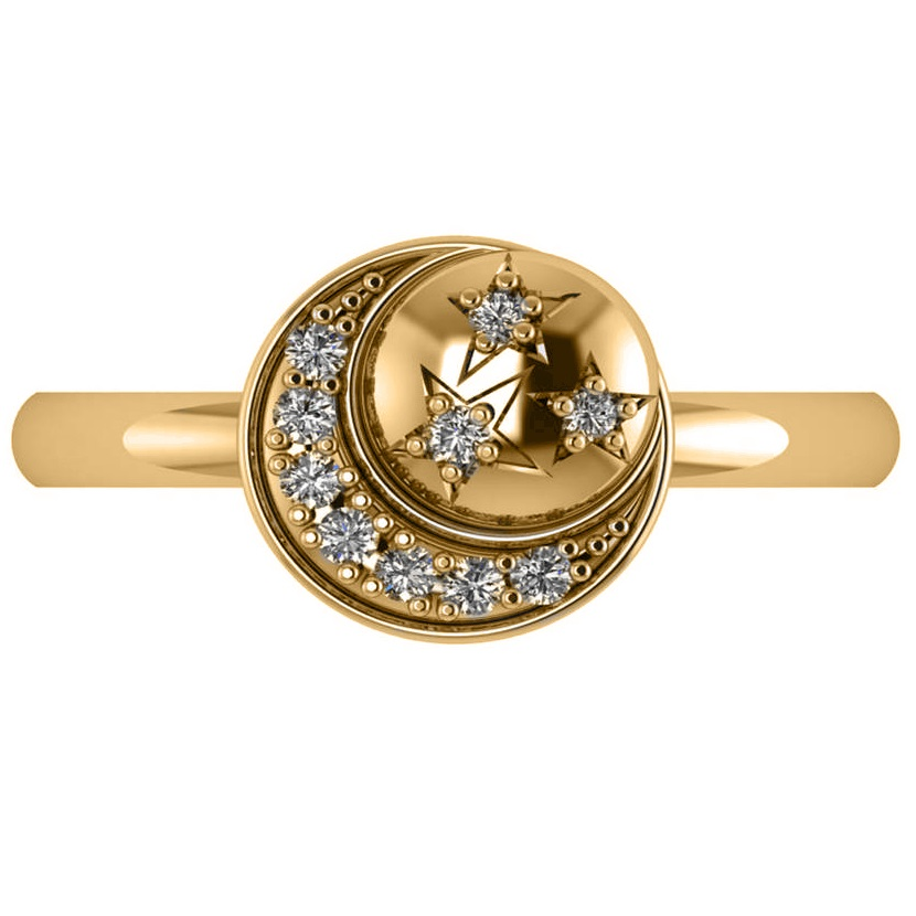 Crescent Moon and Stars Diamond Ring 14k Yellow Gold (0.14ct)