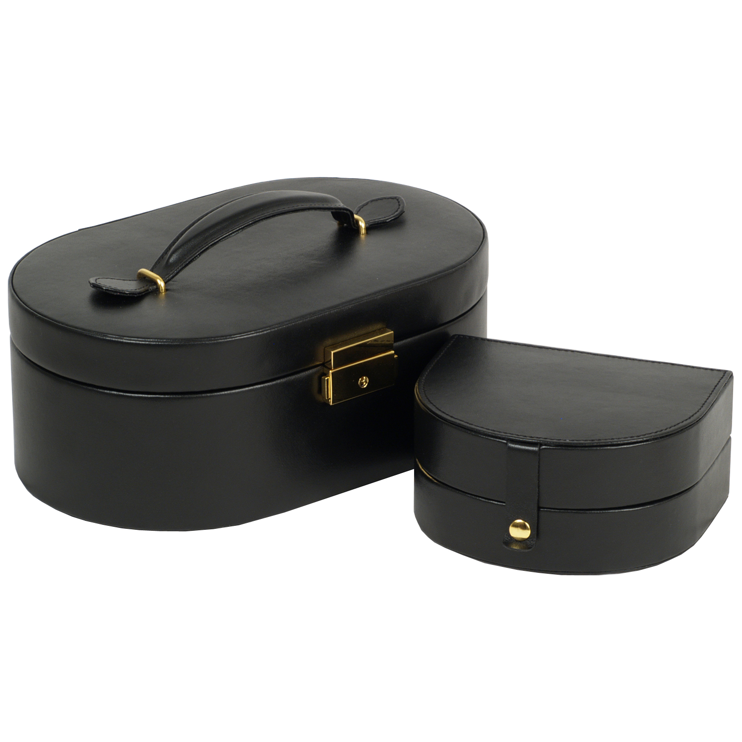 Wolf Heritage Women's Oval Faux Leather Jewelry Box w/ Mirror, Removable Travel Case
