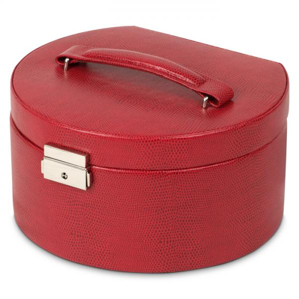 Women's Round Red Faux Leather Jewelry Box w/ Mirror Travel Organizer