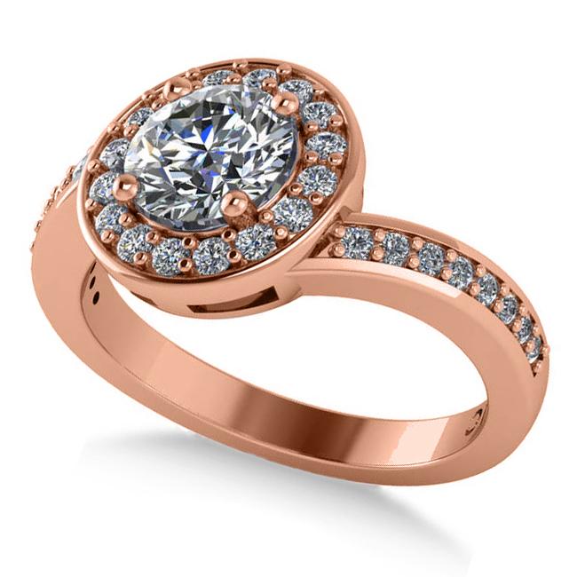 Round Diamond Halo Engagement Ring 14k Rose Gold (1.40ct)