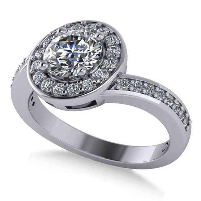 Round Diamond Halo Engagement Ring 14k White Gold (1.40ct)