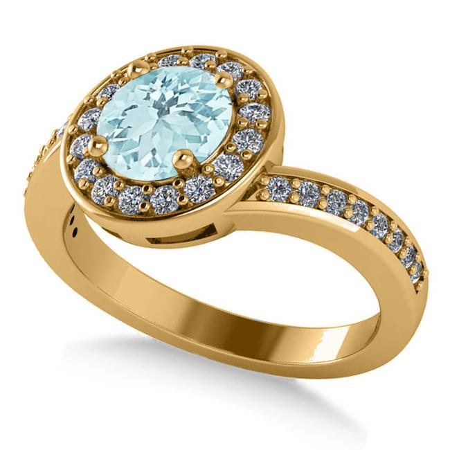Round Aquamarine Halo Engagement Ring 14k Yellow Gold (1.40ct)