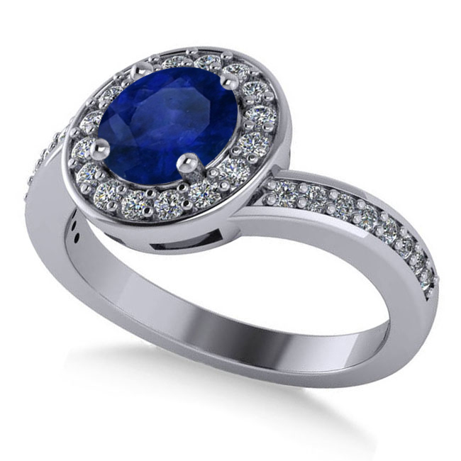 Round Blue Sapphire Halo Engagement Ring 14k White Gold (1.40ct)