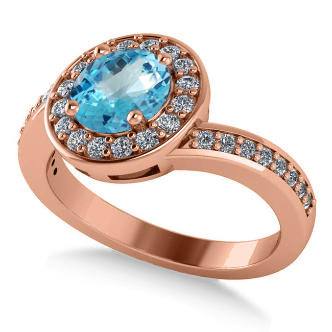 Round Blue Topaz Halo Engagement Ring 14k Rose Gold (1.40ct)