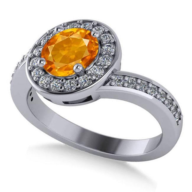 Round Citrine Halo Engagement Ring 14k White Gold (1.40ct)