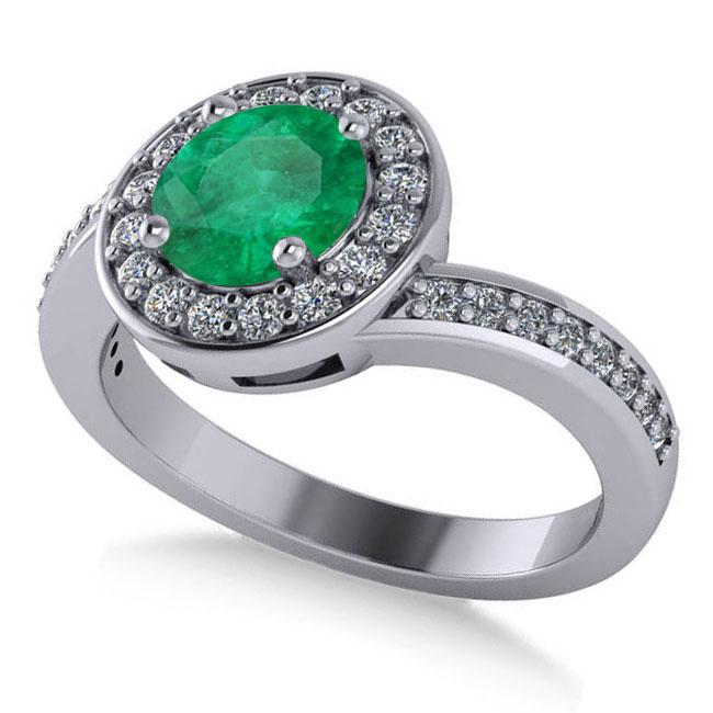 Round Emerald Halo Engagement Ring 14k White Gold (1.40ct)