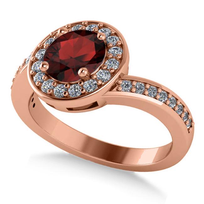 Round Garnet Halo Engagement Ring 14k Rose Gold (1.40ct)