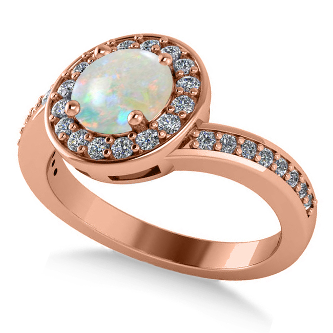 Round Opal Halo Engagement Ring 14k Rose Gold (1.40ct)
