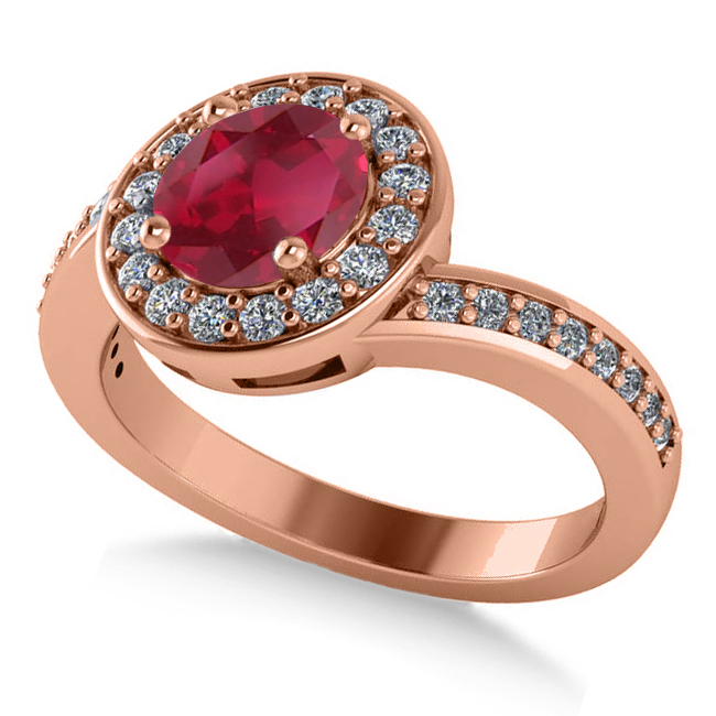 Round Ruby Halo Engagement Ring 14k Rose Gold (1.40ct)