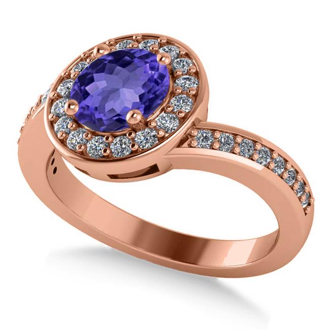 Round Tanzanite Halo Engagement Ring 14k Rose Gold (1.40ct)