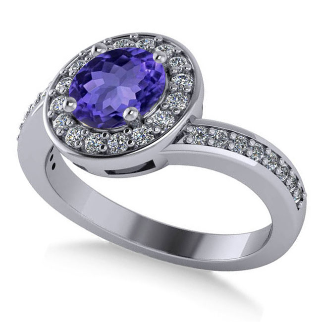 Round Tanzanite Halo Engagement Ring 14k White Gold (1.40ct)