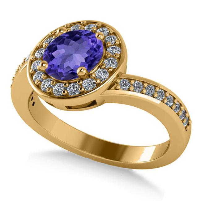 Round Tanzanite Halo Engagement Ring 14k Yellow Gold (1.40ct)