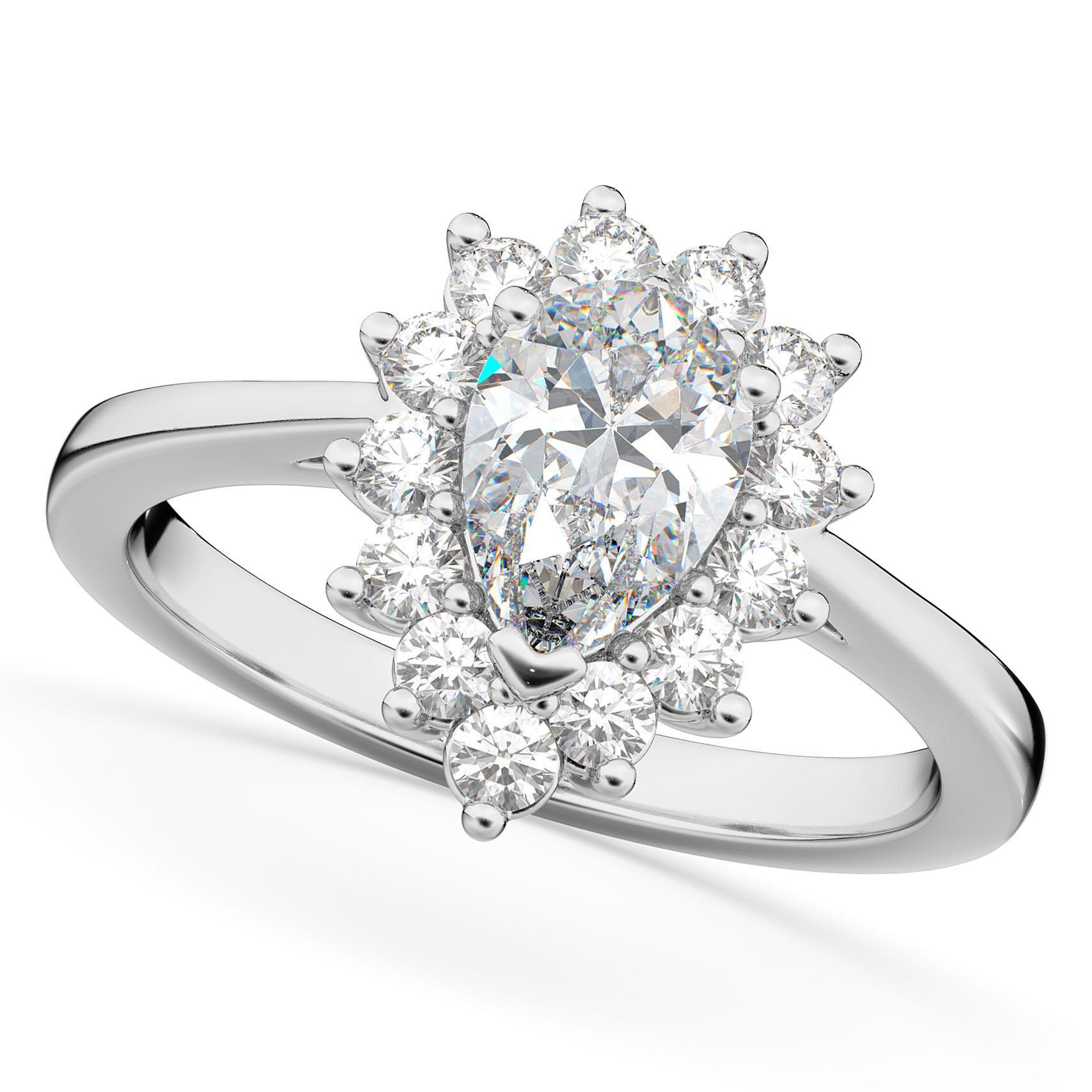 Halo Pear Shaped Diamond Engagement Ring 14k White Gold (1.12ct)