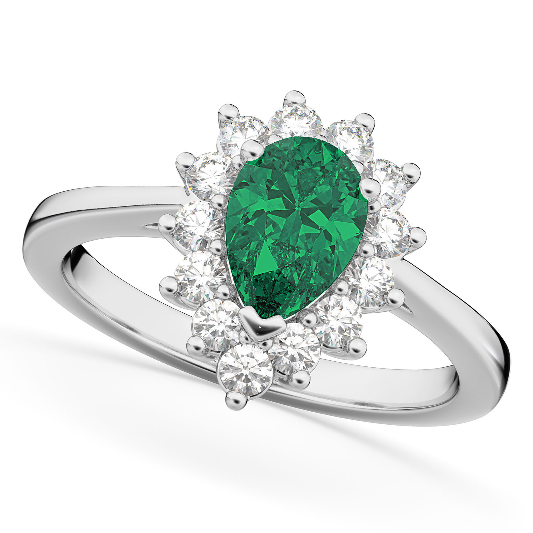 Halo Emerald & Diamond Floral Pear Shaped Fashion Ring 14k White Gold (1.12ct)