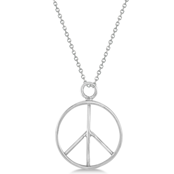 Classic Round Peace Sign Pendant for Men or Women in Sterling Silver