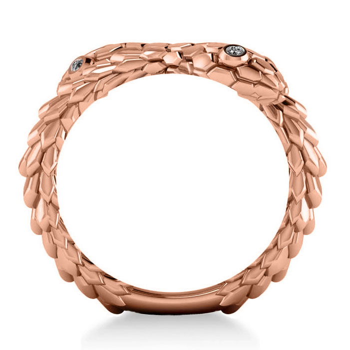 Diamond Double Snake Fashion Ring 14k Rose Gold (0.04ct)