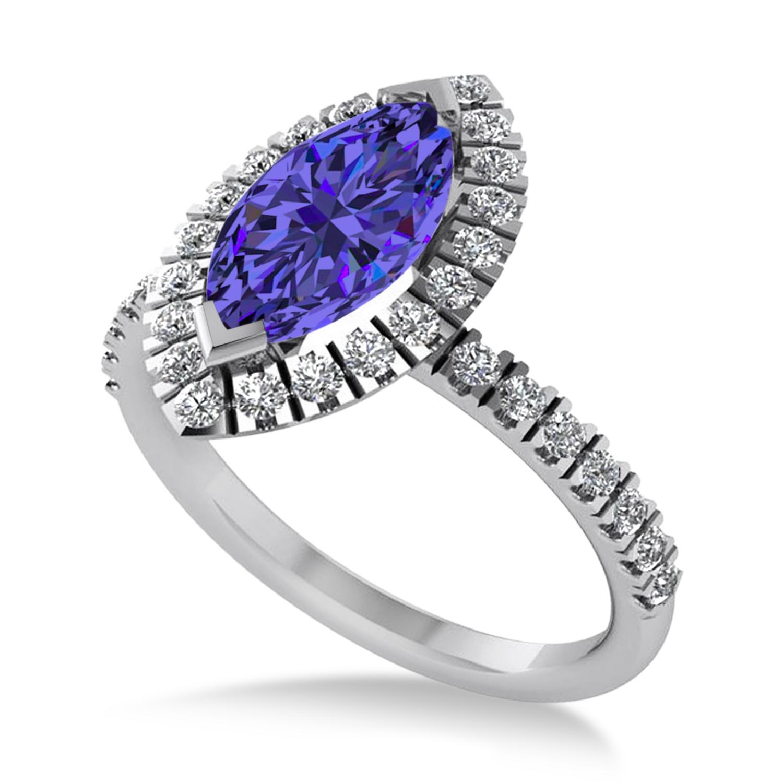 Tanzanite & Diamond Marquise Halo Engagement Ring 14k White Gold (1.84ct)
