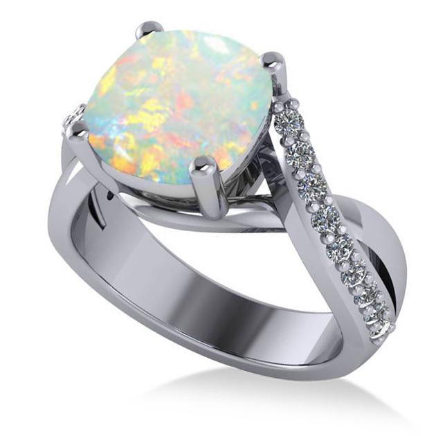 Twisted Cushion Opal Engagement Ring 14k White Gold 4 16ct Allurez